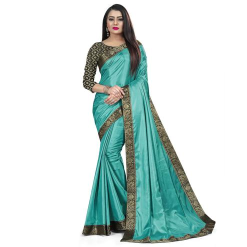 Baarbij - Sky Blue Colored Casual Solid Poly Matki Paper Silk Saree