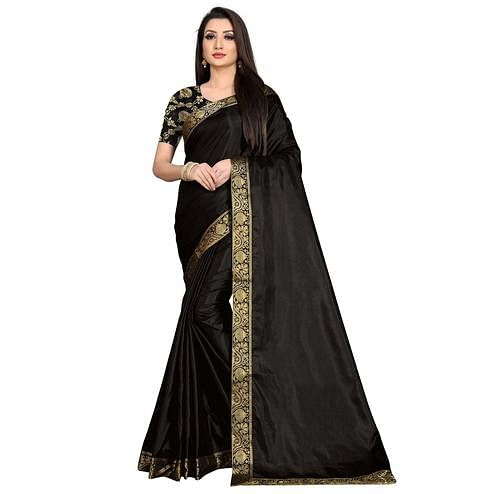 Baarbij - Black Colored Casual Solid Poly Matki Paper Silk Saree