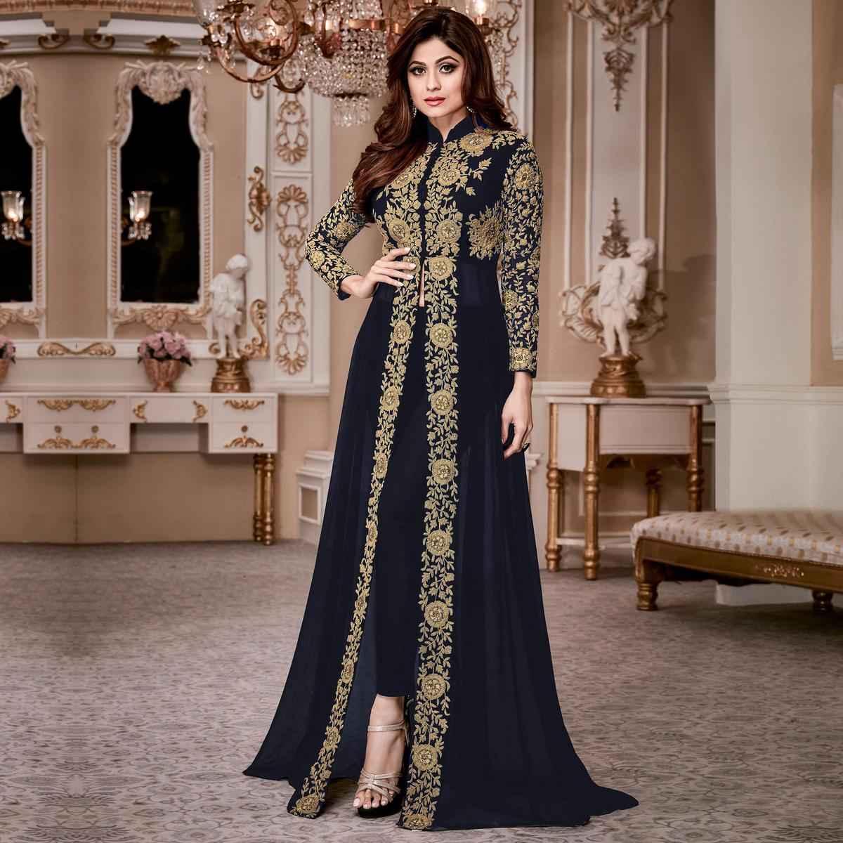 Gorgeous Blue Colored Designer Embroidered Georgette Anarkali Suit