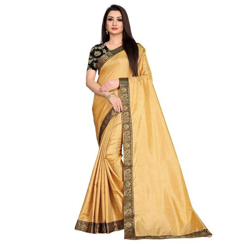 Baarbij - Beige Colored Casual Solid Poly Matki Paper Silk Saree