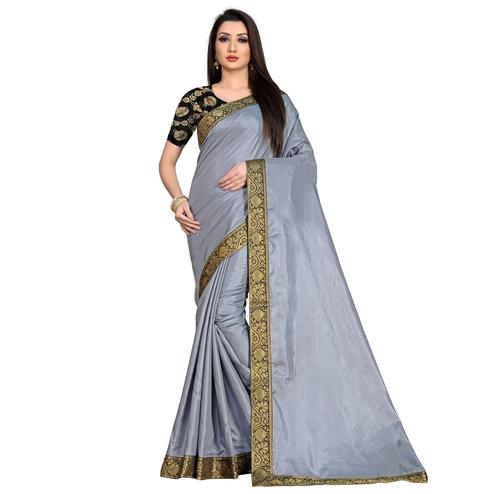 Baarbij - Gray Colored Casual Solid Poly Matki Paper Silk Saree