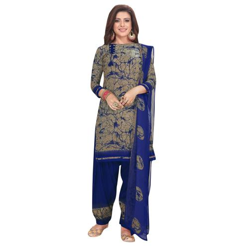 Charming Brown - Blue Colored Casual Wear Printed Crepe Patiala Dress Material