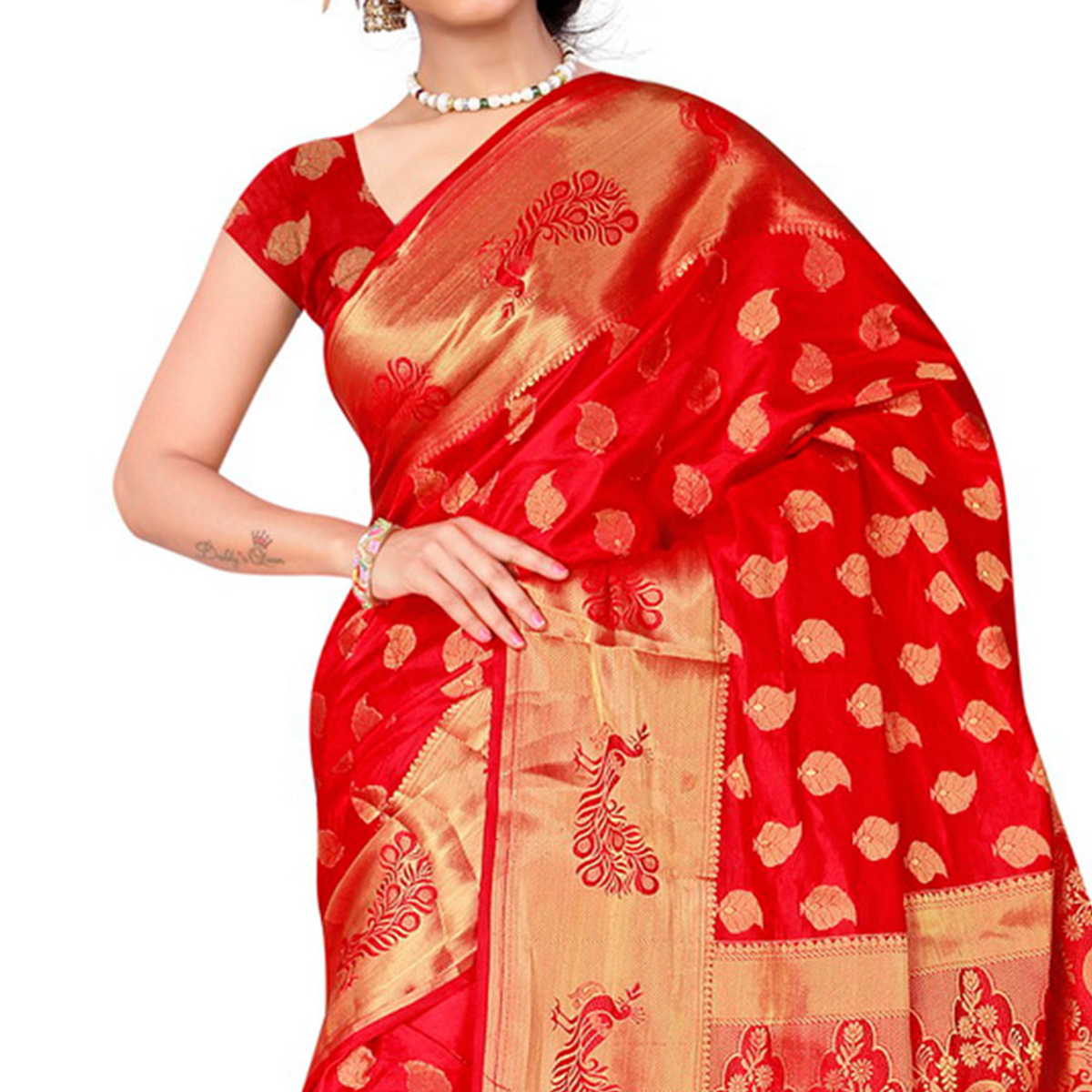 Red Banarasi Silk Woven Saree