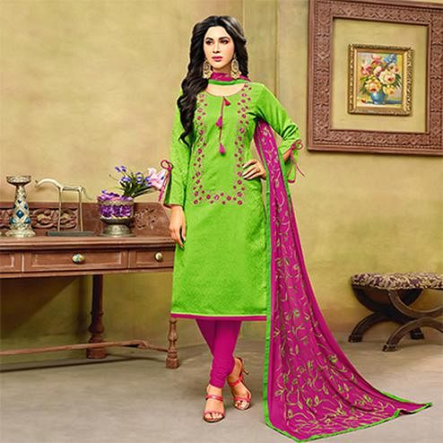 Flamboyant Green-Pink Embroidered Cotton Jacquard Dress Material
