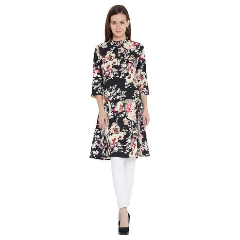 Toshee - Women's Black and Multi Color Floral Printed Long Crepe Tunic
