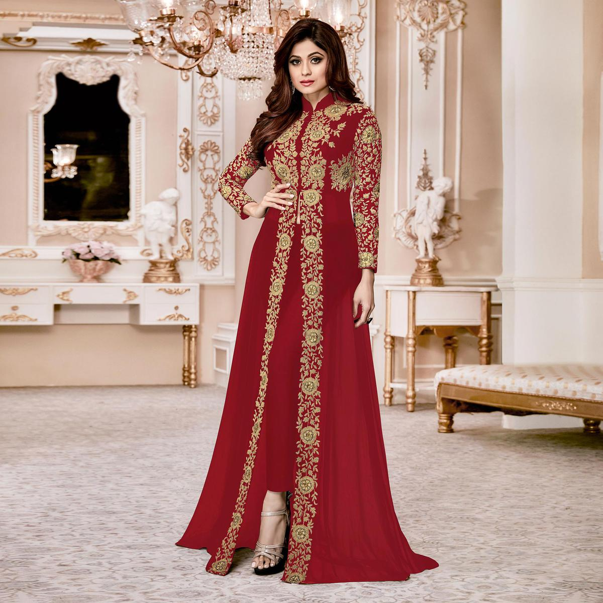 Sizzling Red Colored Designer Embroidered Georgette Anarkali Suit