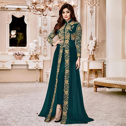 Dazzling Green Colored Designer Embroidered Georgette Anarkali Suit