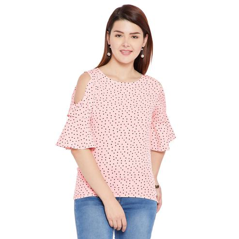 Toshee - Women's Peach Color Dot Printed Crepe Top
