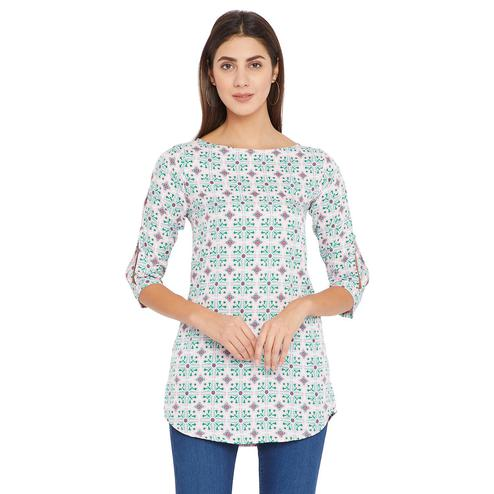 Toshee - Women's Peach and Multicolor Floral Printed Crepe Tunic