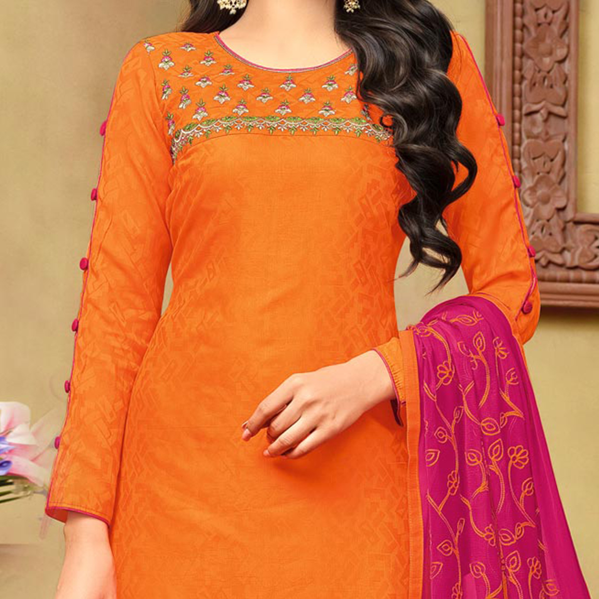 Attractive Orange-Pink Embroidered Cotton Jacquard Dress Material