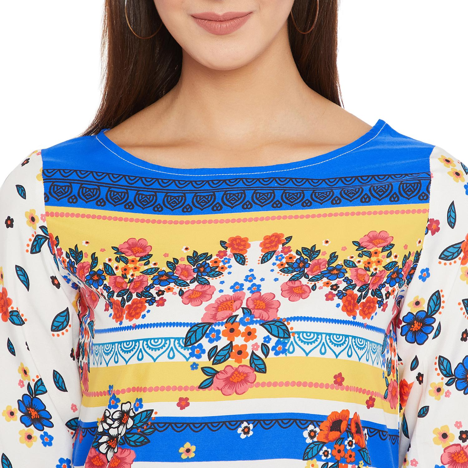 Toshee - Women's White and Multicolor Floral Printed Crepe Top