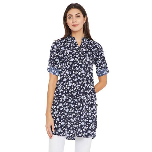 Toshee - Women's Navy Blue and Multicolor Floral printed Crepe Tunic