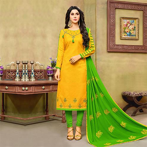 Graceful Yellow-Green Embroidered Cotton Jacquard Dress Material