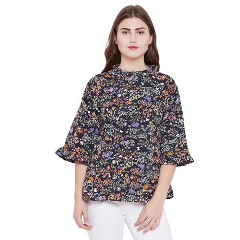 Toshee - Women's Navy Blue and Multicolor Floral Printed Crepe Top