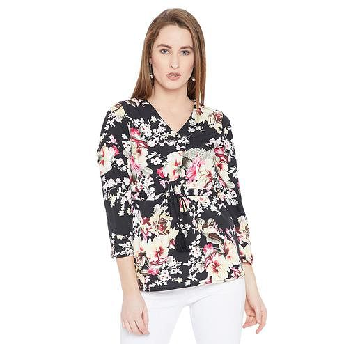 Toshee - Women's Black and Multicolor Floral Printed Crepe Tunic