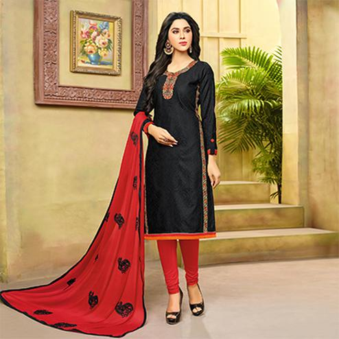 Classy Black-Red Embroidered Cotton Jacquard Dress Material