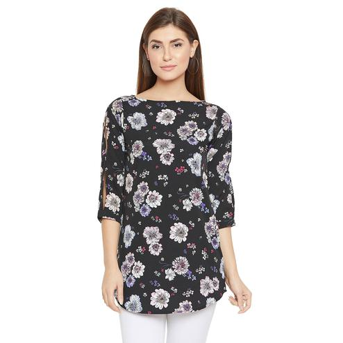 Toshee - Women Black Color Floral Printed Crepe Tunic