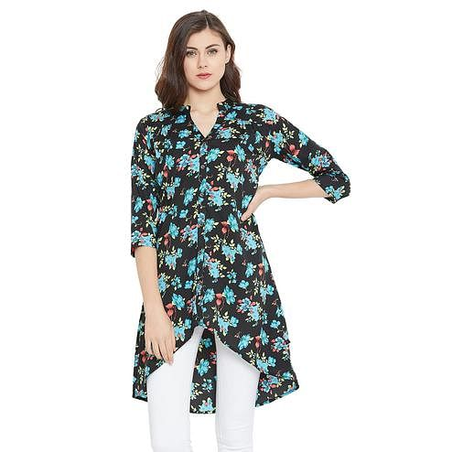 Toshee - Women's Black and Multicolor High Low Floral Printed Crepe Tunic