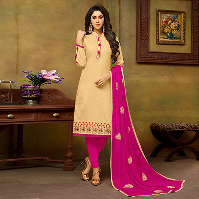 Charming Beige-Pink Embroidered Cotton Jacquard Dress Material