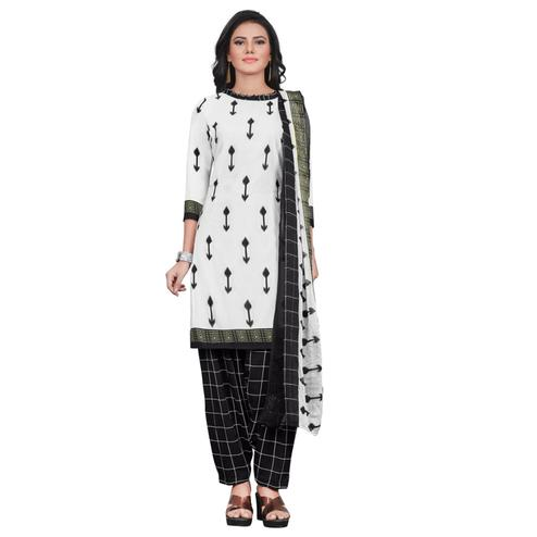 Attractive White Colored Casual Wear Printed Crepe Patiala Dress Material