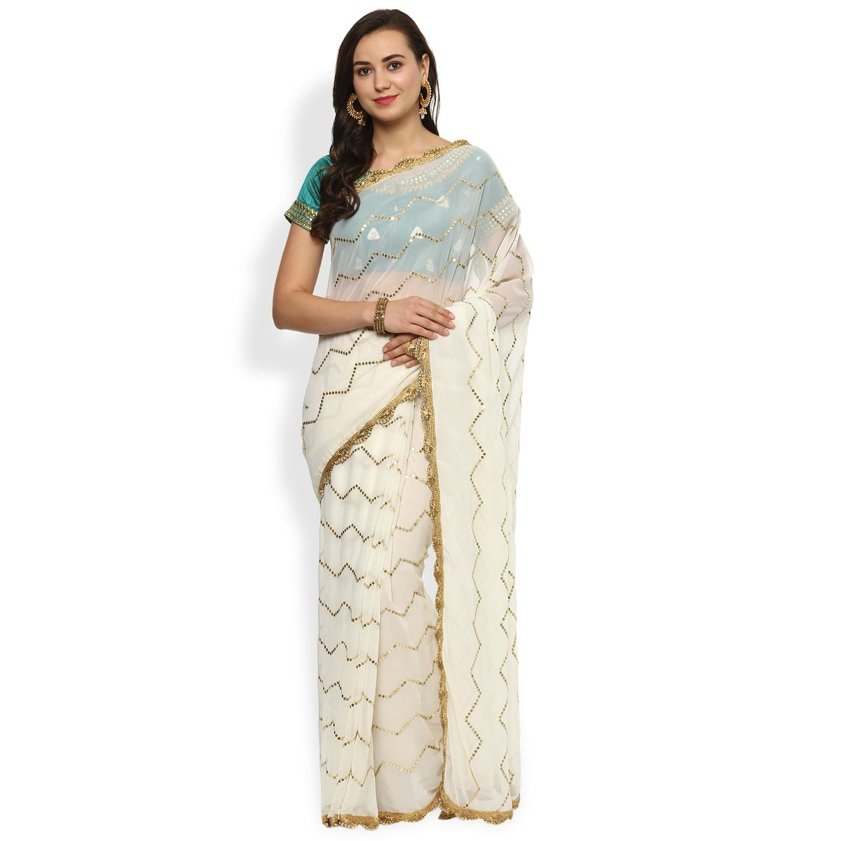 Wedding White Sarees Online: Buy Alluring White Designer Embroidered Georgette Saree