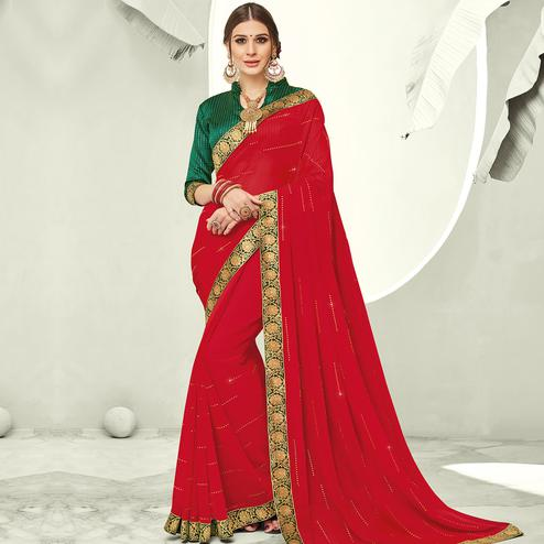 Indian Women Red Colored Festive Wear Woven Chiffon Saree