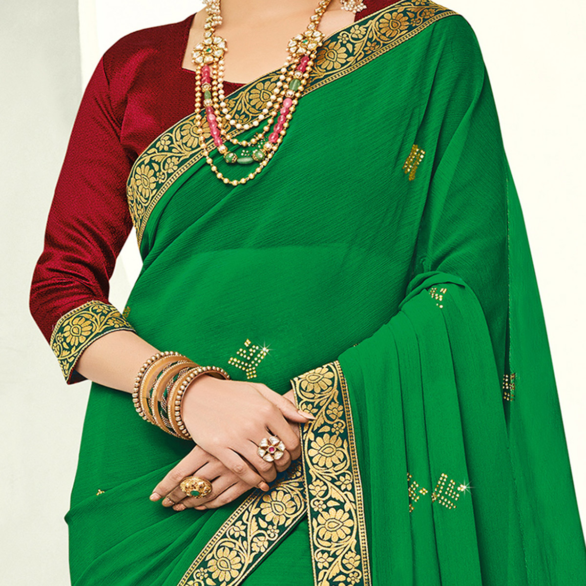 Indian Women Green Colored Festive Wear Woven Chiffon Saree