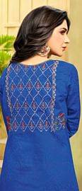 Gorgeous Blue-Red Embroidered Cotton Jacquard Dress Material