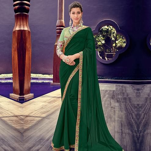 Indian Women Green Colored Party Wear embroidered Chiffon Saree
