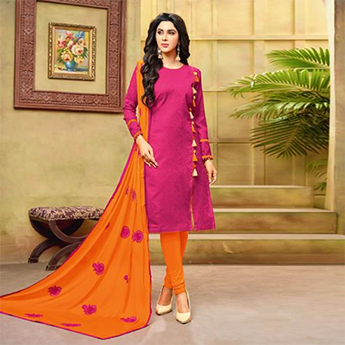 Elegant Pink-Orange Embroidered Cotton Jacquard Dress Material