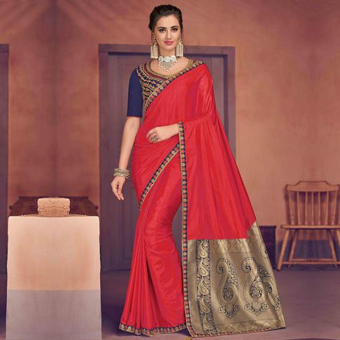 Indian Women Red Colored Party Wear Embroidered Poly Silk Saree