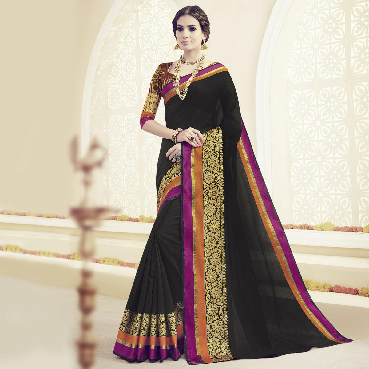 Black Embroidered Weaving Work Saree