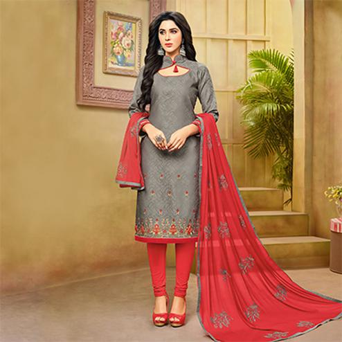 Stylish Gray-Red Embroidered Cotton Jacquard Dress Material