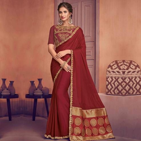 Indian Women Maroon Colored Party Wear Embroidered Poly Silk Saree