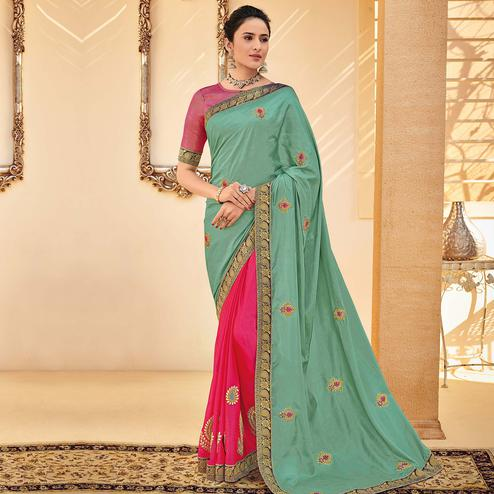 Indian Women Green Colored Party Wear Embroidered Poly Silk Half & Half Saree