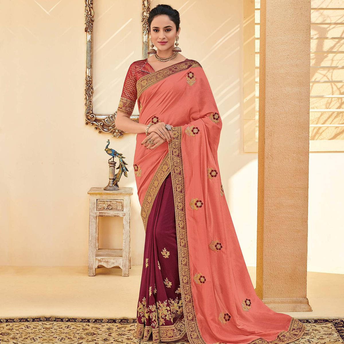 Indian Women Pink Colored Party Wear Embroidered Poly Silk Half & Half Saree