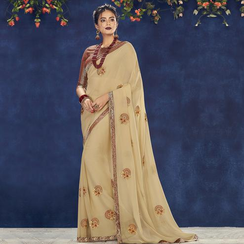 Indian Women Beige Colored Party Wear Embroidered Georgette Saree