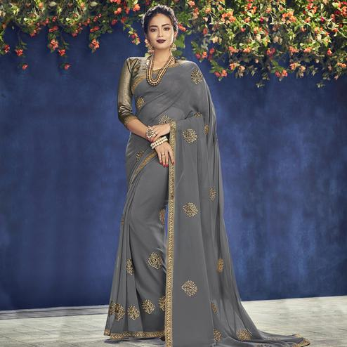 Indian Women Grey Colored Party Wear Embroidered Georgette Saree