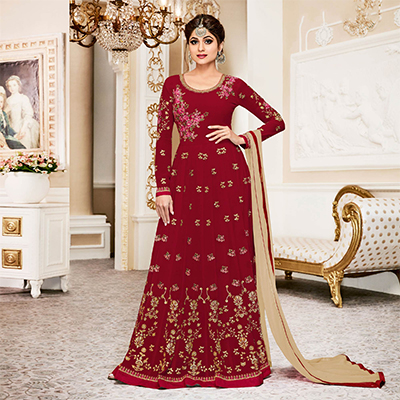 Elegant Red Colored Designer Embroidered Georgette Anarkali Suit