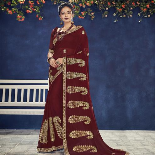 Indian Women Maroon Colored Party Wear Embroidered Chiffon Saree