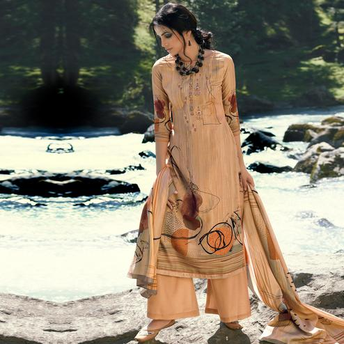 Stylee Lifestyle - Beige Colored Casual Wear Digital Printed Pashmina Dress Material