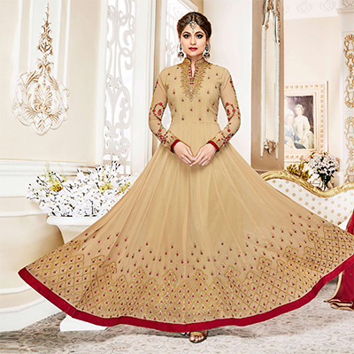 Classy Beige Colored Designer Embroidered Georgette Anarkali Suit