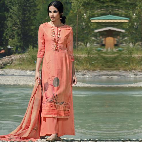 Stylee Lifestyle - Peach Colored Casual Wear Digital Printed Pashmina Dress Material