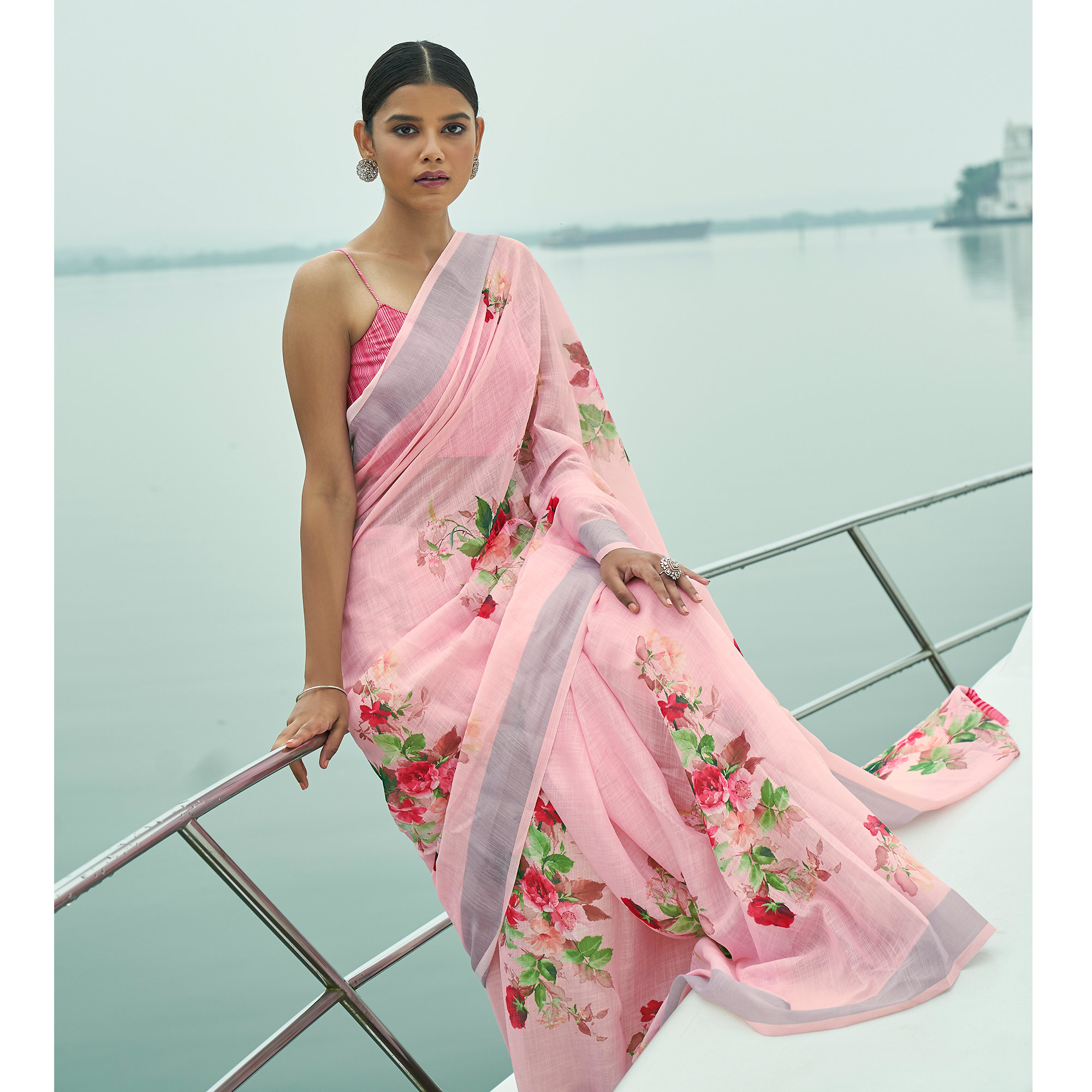 Radiant Pink Colored Party Wear Floral Printed Linen Saree