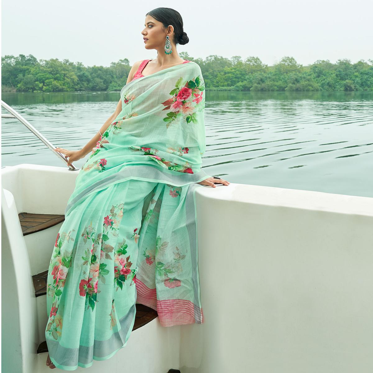 Pleasant Green Colored Party Wear Floral Printed Linen Saree