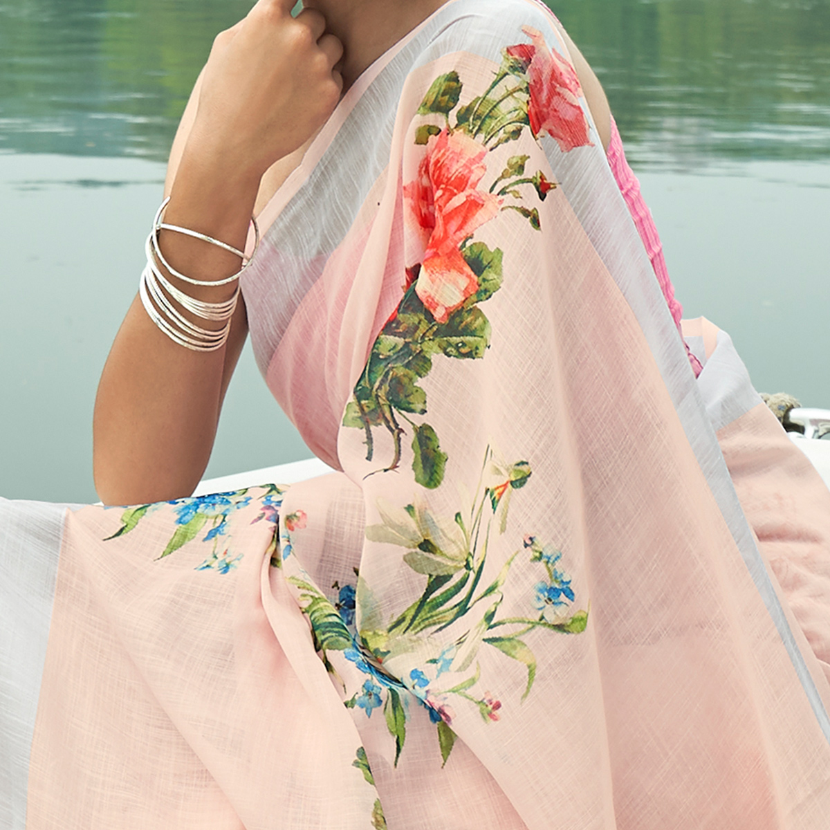 Exceptional Light Pink Colored Party Wear Floral Printed Linen Saree