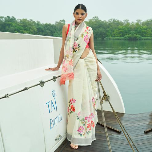 Gleaming Cream Colored Party Wear Floral Printed Linen Saree