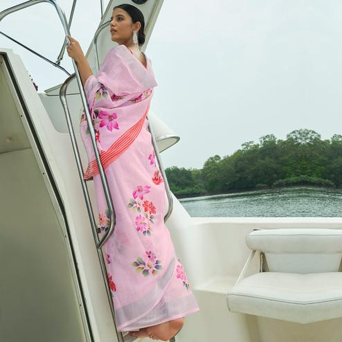 Demanding Pink Colored Party Wear Floral Printed Linen Saree