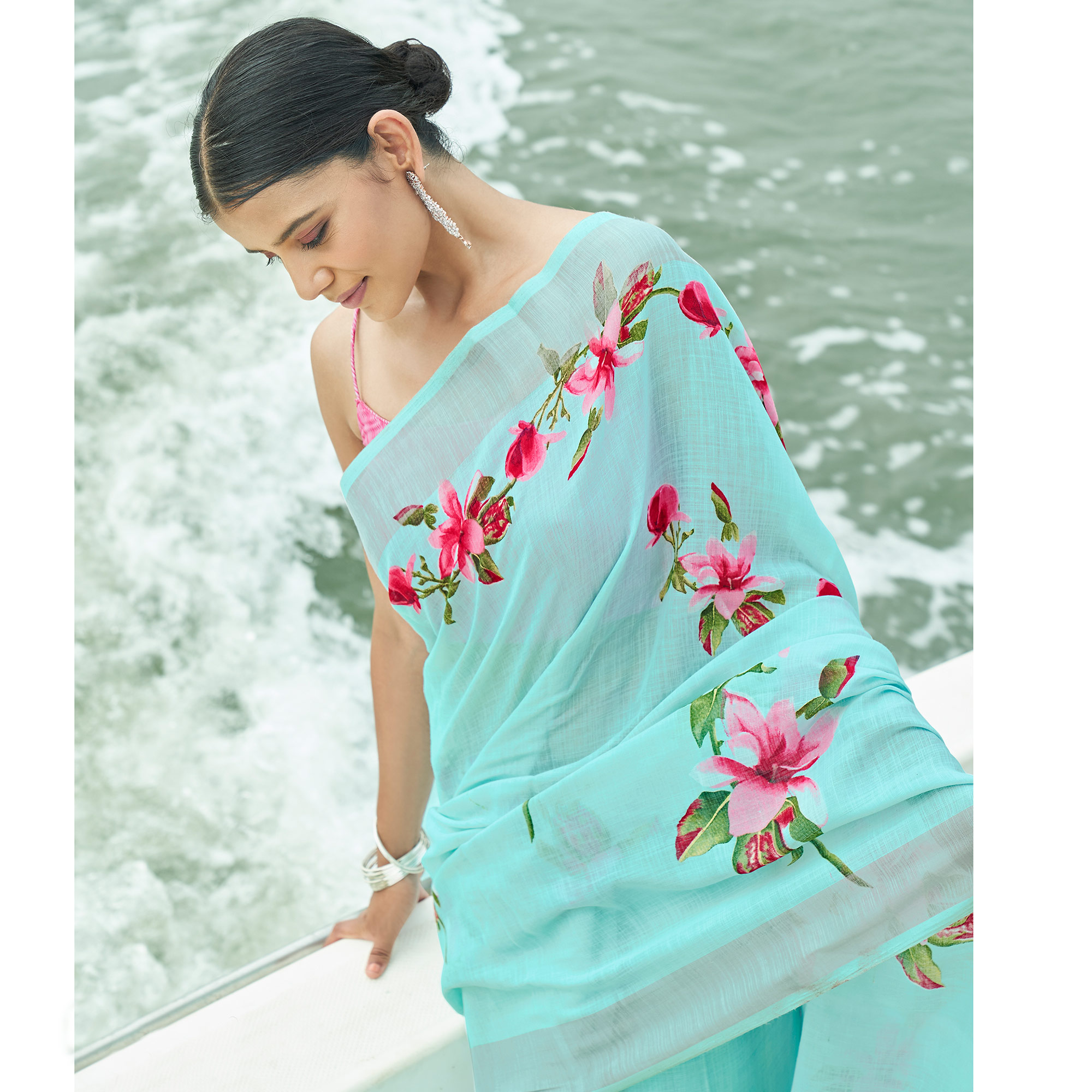 Refreshing Aqua Blue Colored Party Wear Floral Printed Linen Saree