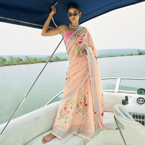 Excellent Peach Colored Party Wear Floral Printed Linen Saree